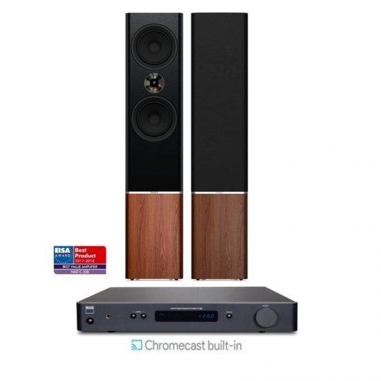 NAD C338 stereo stiprintuvas su Tannoy Platinum F6 kolonėlėmis
