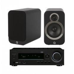Onkyo R-N855 stereo stiprintuvas su Q Acoustics Q3020i kolonėlėmis